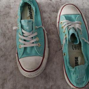 Converse aqua size 5 elastic back sneakers